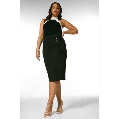 Karen Millen Curve Button Pocket Ponte Midi Skirt -, Black