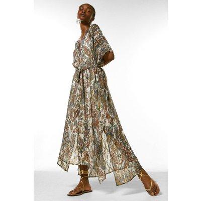 Karen Millen Paisley Trimmed Woven Kaftan Dress -, Ivory