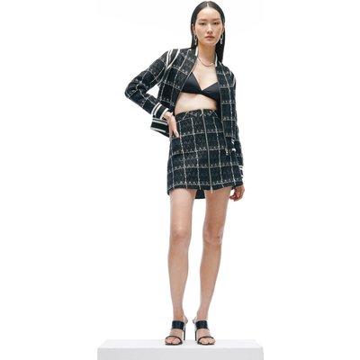 Karen Millen Linton Tweed A Line Zip Front Skirt -, Black