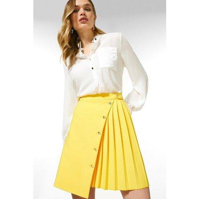 Karen Millen Compact Stretch Multi Button Skirt -, Yellow