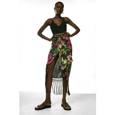 Karen Millen Tropical Fringe Midi Skirt -, Black