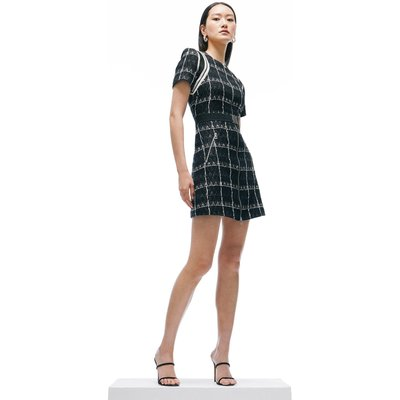 Karen Millen Linton Tweed Short Sleeve A Line Dress -, Black