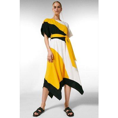 Karen Millen Colourblock Soft Tie Waist Dress, Multi
