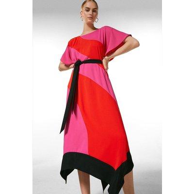 Karen Millen Colourblock Soft Tie Waist Dress -, Navy