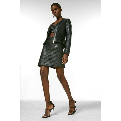 Karen Millen Leather Multi Stitch Jacket -, Black