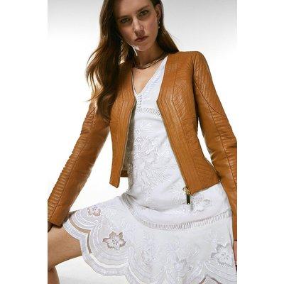 Karen Millen Leather Multi Stitch Jacket -, Cashew