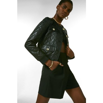 Karen Millen Leather Quilted Bomber Jacket -, Black