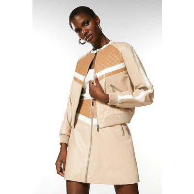 Karen Millen Leather Colourblock Bomber Jacket, Multi