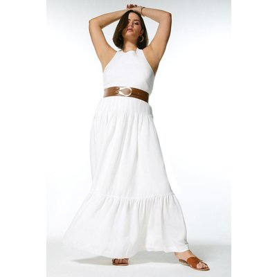 Karen Millen Curve Linen Blend Tiered Hem Belt Maxi Dress -, Ivory