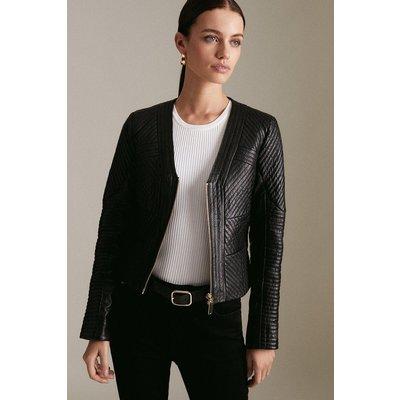 Karen Millen Petite Leather Multi Stitch Jacket -, Black