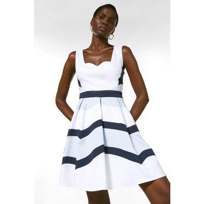 Karen Millen Crisp Cotton Colourblocked Full Dress -, Blue
