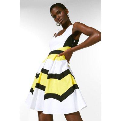 Karen Millen Crisp Cotton Colourblocked Full Dress -, Bright Yellow