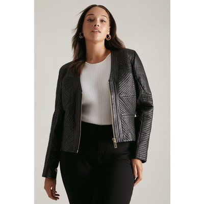 Karen Millen Curve Leather Multi Stitch Jacket -, Black