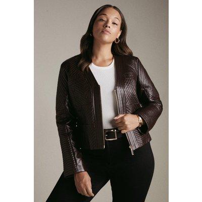 Karen Millen Curve Leather Multi Stitch Jacket -, Fig