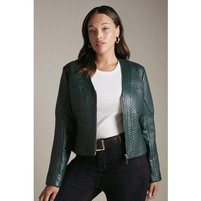 Karen Millen Curve Leather Multi Stitch Jacket -, Green