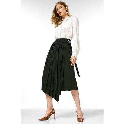 Karen Millen Soft Tailored Pleated Wrap Skirt -, Black