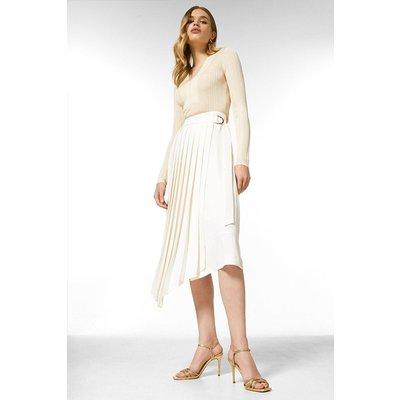 Karen Millen Soft Tailored Pleated Wrap Skirt -, Ivory