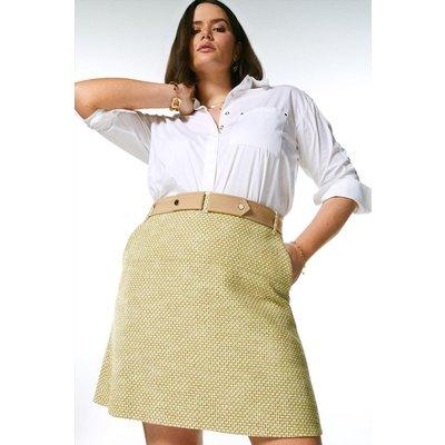 Karen Millen Curve Tweed And Contrast A Line Skirt -, Green