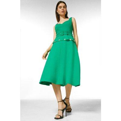 Karen Millen Compact Stretch Button Waist Midi Dress -, Green