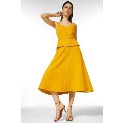 Karen Millen Compact Stretch Button Waist Midi Dress -, Yellow