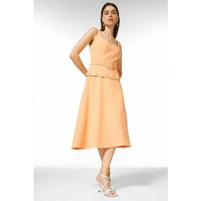 Karen Millen Compact Stretch Button Waist Midi Dress -, Pink