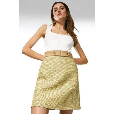Karen Millen Tweed And Contrast A Line Skirt -, Green