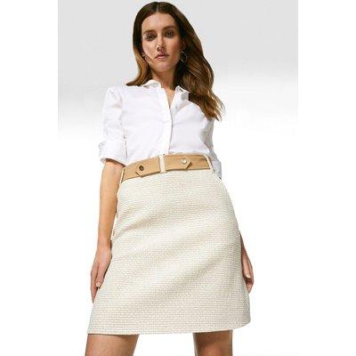 Karen Millen Tweed And Contrast A Line Skirt -, Neutral
