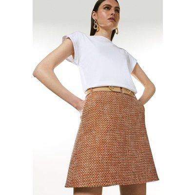 Karen Millen Tweed And Contrast A Line Skirt -, Orange