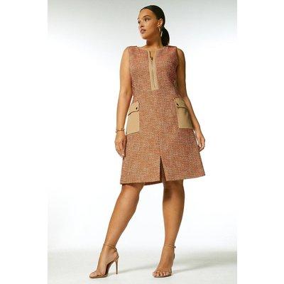 Karen Millen Curve Tweed And Contrast Pocket A Line Dress -, Orange