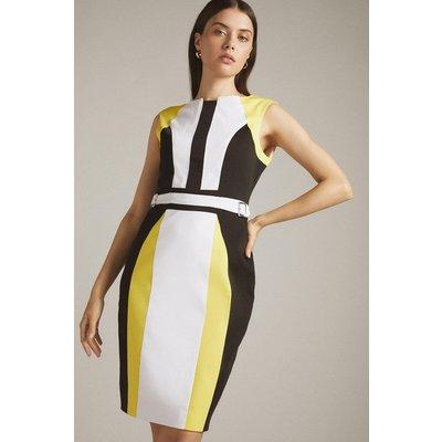 Karen Millen Crisp Cotton Colourblocked Pencil Dress -, Yellow