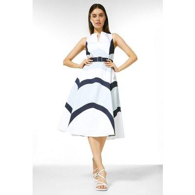 Karen Millen Crisp Cotton Colourblocked Midi Dress -, Blue