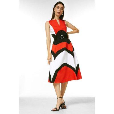 Karen Millen Crisp Cotton Colourblocked Midi Dress -, Red