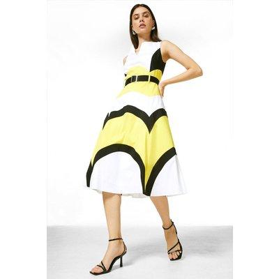 Karen Millen Crisp Cotton Colourblocked Midi Dress -, Yellow