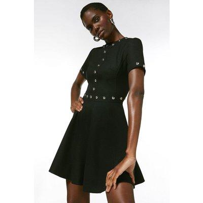 Karen Millen Structured Stretch Stud Circular Skirt Dress -, Black