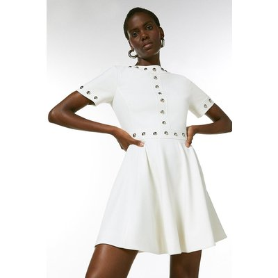 Karen Millen Structured Stretch Stud Circular Skirt Dress -, Ivory
