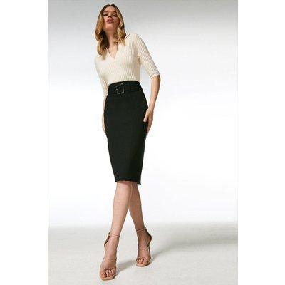 Karen Millen Ponte Belted Pencil Skirt -, Black