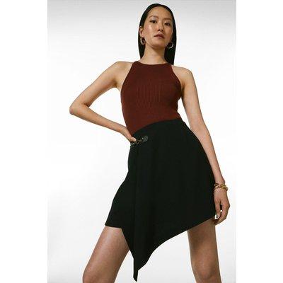 Karen Millen Draped Buckle Detail Skirt -, Black