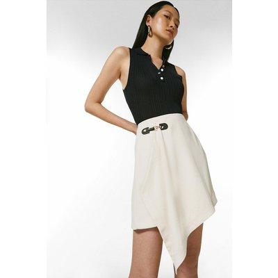 Karen Millen Draped Buckle Detail Skirt -, Cream