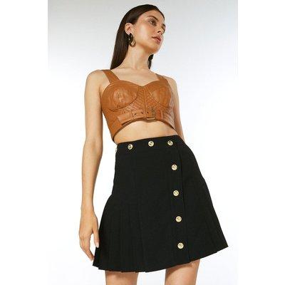 Karen Millen Pleat Panelled Military Button A Line Skirt -, Black