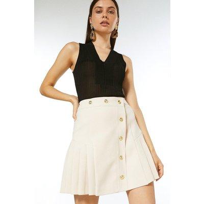 Karen Millen Pleat Panelled Military Button A Line Skirt -, Cream