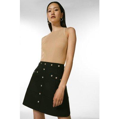 Karen Millen Compact Stretch Studded A Line Skirt -, Black