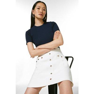 Karen Millen Compact Stretch Studded A Line Skirt -, Ivory