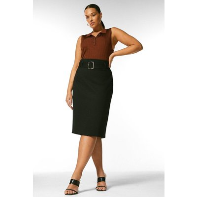 Karen Millen Curve Ponte Belted Pencil Skirt -, Black