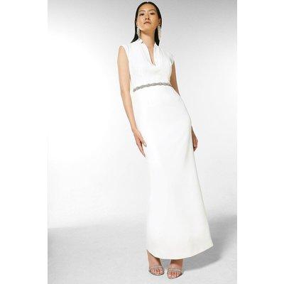 Karen Millen Structured Crepe Forever Maxi Dress -, Ivory