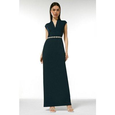 Karen Millen Structured Crepe Forever Maxi Dress -, Navy