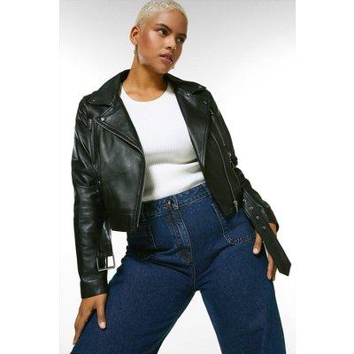 Karen Millen Curve Leather Belted Crop Jacket -, Black