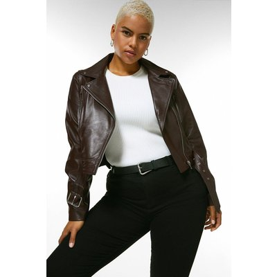 Karen Millen Curve Leather Belted Crop Jacket -, Fig