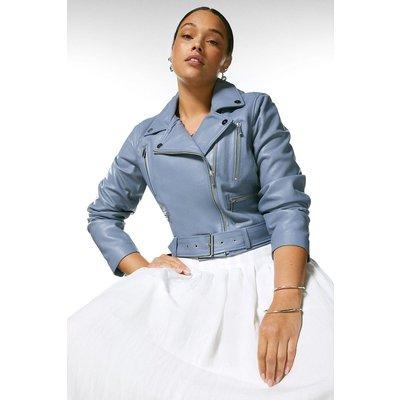 Karen Millen Curve Leather Belted Crop Jacket -, Pale Blue