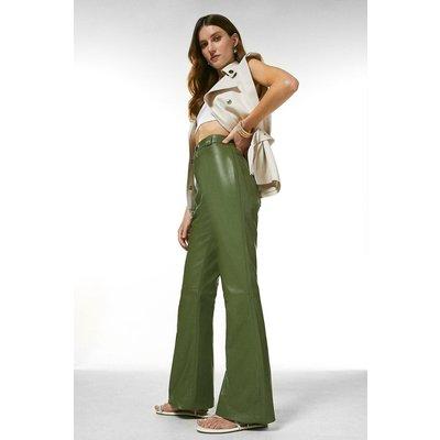 Karen Millen Leather Wide Leg Trouser -, Green