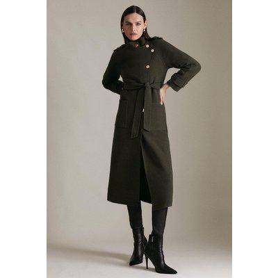 Karen Millen Funnel Neck Splitable Wool Coat -, Khaki/Green